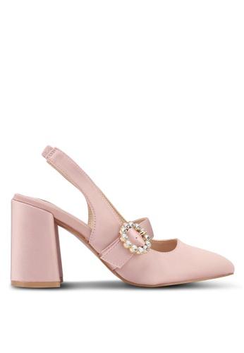 Velvet pink Embellished Buckle Heels 9907BSH92CF3DCGS_1