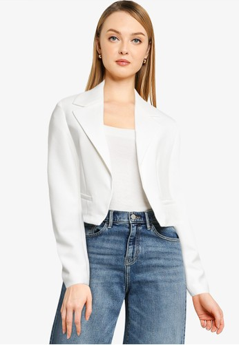 French Connection white Indi Whisper Rth Stng Cropped Blazer EDA68AADC7FD05GS_1