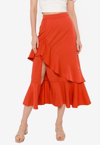 ZALORA BASICS orange Ruffled Skirt with Side Slit 3C897AA5D68F65GS_1