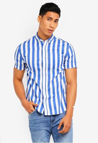 MANGO Man 藍色 條紋休閒襯衫 F2016AAE7804BFGS_1