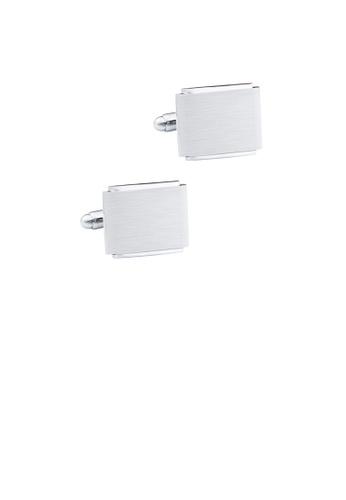Glamorousky silver Fashion Simple Brushed Geometric Square Cufflinks 55727ACF440684GS_1