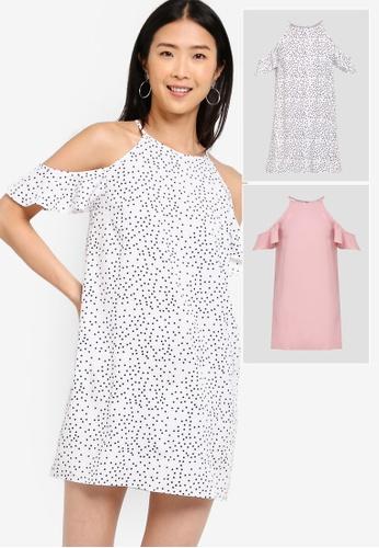 f6bb2638e10f ZALORA BASICS white and pink 2 Pack Basic Cold Shoulder Dress  ZA511AA0Y6TKMY_1
