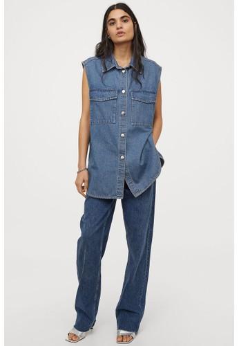 H&M blue Sleeveless shirt jacket E3EB7AA9675194GS_1
