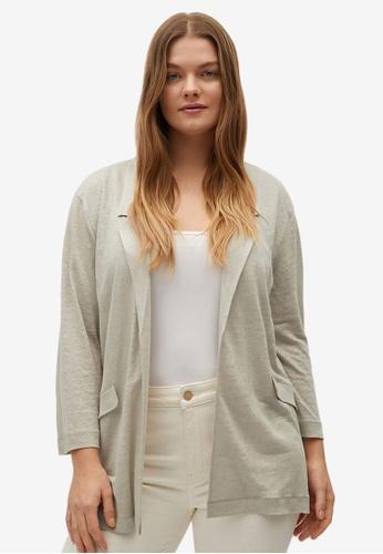 Violeta by MANGO brown Plus Size Lapel Linen Jacket 24A3DAA6C2C00CGS_1