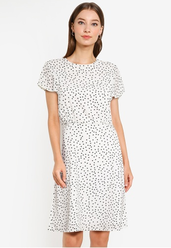 ZALORA WORK multi Fluted Sleeves Fit And Flare Dress 828AEAA684549FGS_1