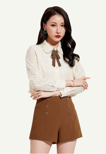 LYCKA beige LCC9048 Lady V Neck Knitted Long Sleeve Blouse Beige 7070AAA1F89FAEGS_1