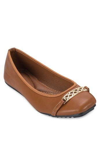 鬆餅esprit taiwan金飾方頭平底鞋, 女鞋, 鞋