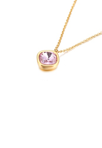 Glamorousky pink Simple and Fashion Plated Gold Geometric Square Pink Cubic Zirconia 316L Stainless Steel Pendant with Necklace 9B9CBAC781474FGS_1