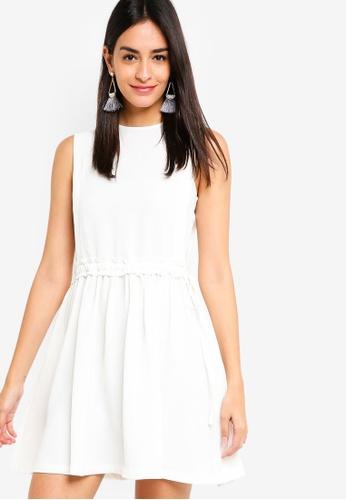 ZALORA white Ruched Waist Dress D5B95AA891DC5DGS_1