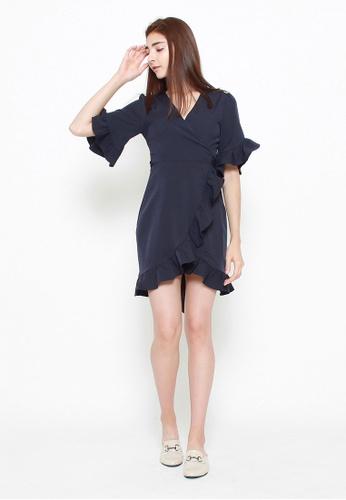 QLOTHE blue Alys Ruffle Wrap Dress 13105AAF54D7C4GS_1