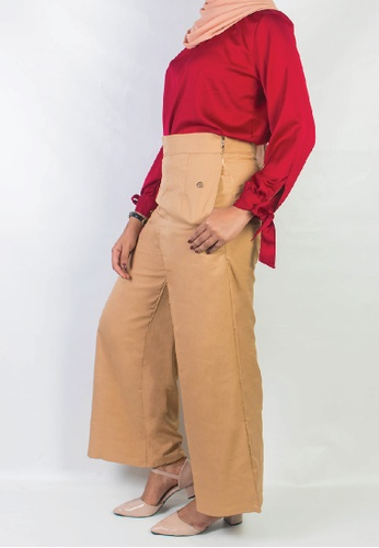 Zaryluq beige and brown Culottes in Spicy Chai 748E0AA946ACA5GS_1