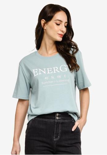 Hopeshow green Slogan Round Neck Short Sleeve T-Shirt 9D396AA58721A1GS_1
