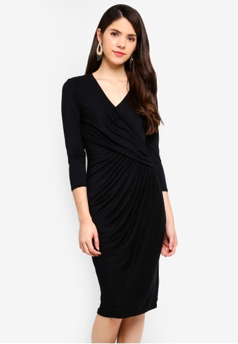 Goddiva black Pleated Wrap Style Midi Dress 0C39FAA9468DCAGS_1