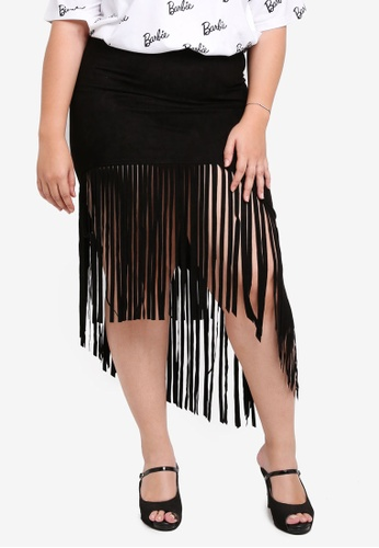 MISSGUIDED black Plus Size Fringed Suede Skirt 77F66AA8E8C205GS_1