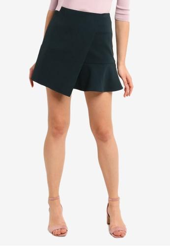 Hopeshow green Overlap Flare Mini Skirt 13EA8AADB70B30GS_1