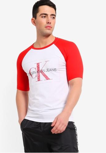 d50d716ca3b Calvin Klein white and red Monogram Raglan Slim Short Sleeve Tee - Calvin  Klein Jeans C4DFDAA4E6E8F3GS_1