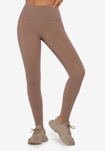 Lorna Jane brown Phone Pocket Stirrup Leggings FF921AAEE52F73GS_1