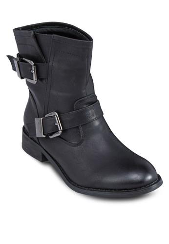 雙zalora taiwan 時尚購物網鞋子扣環中筒靴, 女鞋, 鞋