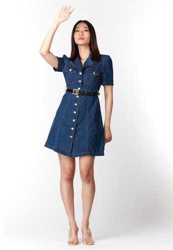 What To Wear blue Notched Collar Front Button Dress in Dark Blue DC484AA80F507AGS_1