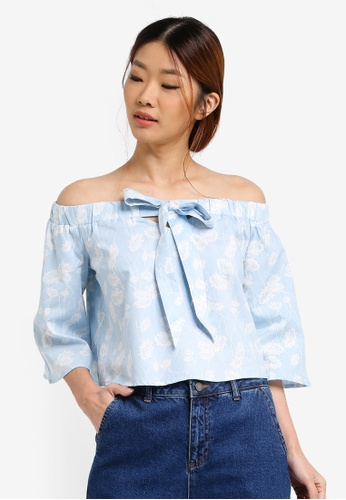 Something Borrowed blue Front Bow Off Shoulder Top 3FE99AA16CDEE0GS_1