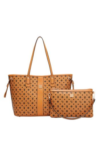 PLAYBOY BUNNY brown Women's 2 in 1 Bag - Tote Bag / Sling Bag / Clutch CCF1BACF98BB50GS_1