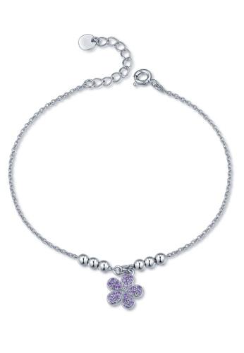 MBLife silver 925 Sterling Silver Purple CZ Petal Bracelet FC5E2AC3E37FA1GS_1