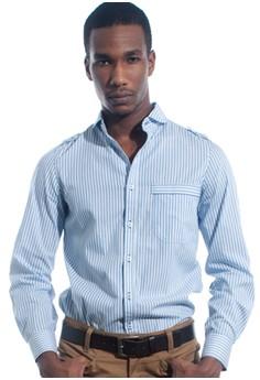 Blue Stripe Curved Collar Shirt
