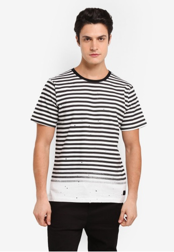 Flesh Imp 黑色 Tran Printed Stripe T-Shirt 6D8B3AA0C6F56AGS_1