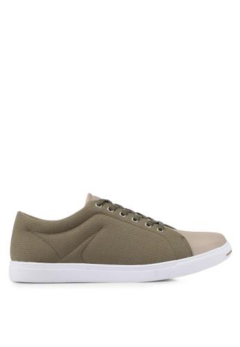 ZALORA brown Mixed Material Canvas Sneakers B1635SH1BA668BGS_1