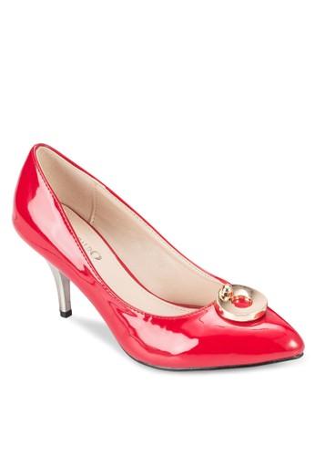扣環zalora時尚購物網的koumi koumi漆皮高跟鞋, 女鞋, 厚底高跟鞋