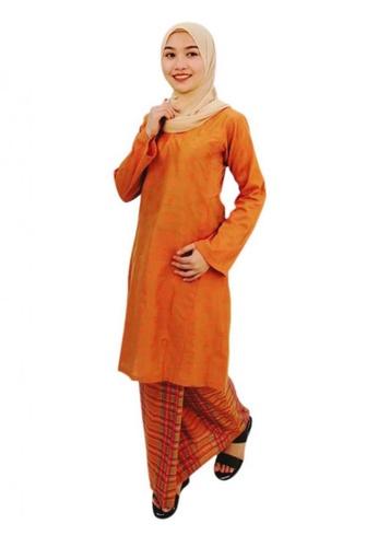 KAMDAR orange Asyura Checked Kurung Riau 1A6EBAA64CFA58GS_1