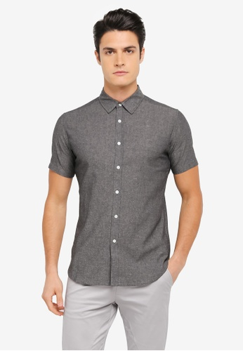 ZALORA black Chambray Short Sleeve Shirt 0EE29AAD43FB0DGS_1