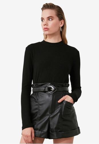 Trendyol black Ribbed High Neck Bodysuit 66D47AACC105F9GS_1