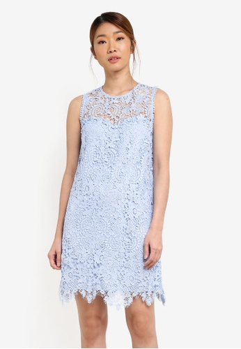 Something Borrowed blue Lace Pieced Sleeveless Shift Dress 9D482AAC8FE1DDGS_1