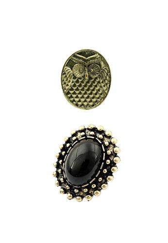 Fur Nyce black and gold Fashion Wisdom Owl 2 pieces Ring Set FU779AC0RIZLMY_1
