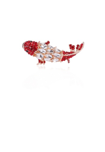 Glamorousky white Fashion Simple Plated Gold Carp Brooch with Cubic Zirconia E7A30AC52823CBGS_1