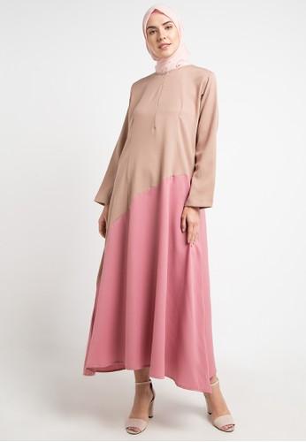 JV Hasanah brown Elliza Multy Colour Dress F7CF3AA9767CF0GS_1