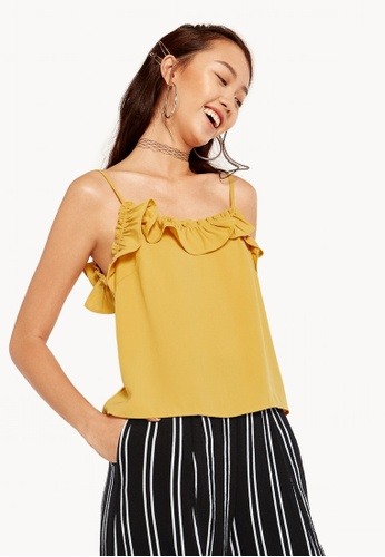 1a279c0a4fea6 Pomelo yellow Ruffled Spaghetti Strap Top - Yellow 4BADBAA7B83FEAGS 1