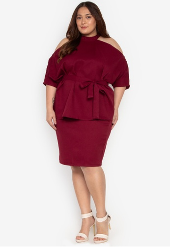 e3293643092 Madelaine Ongpauco Barlao red Plus Size Cold Shoulder Halter Top With Belt  And Pencil Skirt 1470DAA955CD1CGS 1