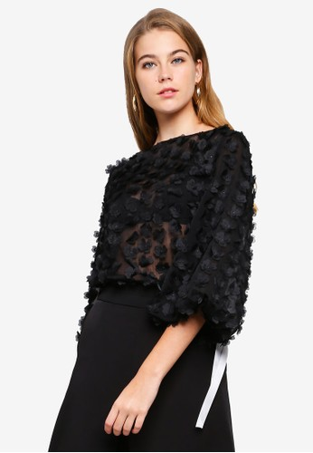 bYSI black Embellished Floral Blouse 089F3AAE87EBD9GS_1