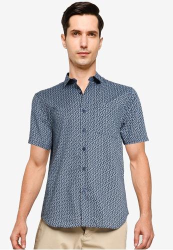 Electro Denim Lab black and blue Printed Shirt 25A1DAA0ACAEFAGS_1