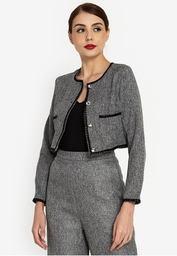 ZALORA WORK grey Tweed Jacket C6A40AAE66BF33GS_1