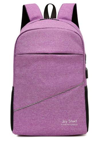 Jackbox purple Korean Fashion Joy Start Ipad Laptop Bag with USB Charging Port Backpack 541 (Purple) CE508AC21322E4GS_1