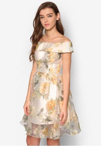 Leiesprit暢貨中心ghton 露肩薄紗印花洋裝, 服飾, 洋裝