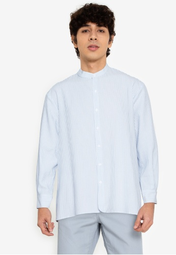 ZALORA BASICS multi Boxy Curve Hem Collarless Shirt 42DD0AAD893D0BGS_1