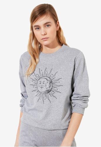 Trendyol grey Printed Basic Sweatshirt CCE07AA8CBF36CGS_1