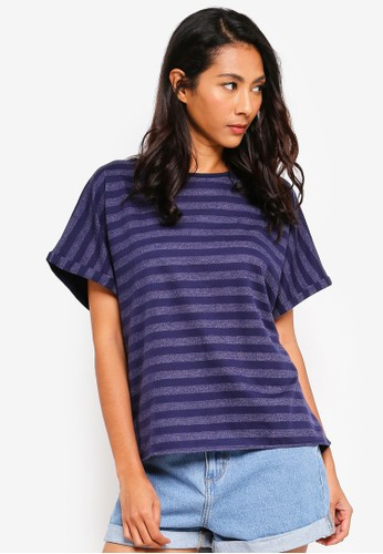 UniqTee navy Contrast Striped Tee A074AAA58C46B8GS_1