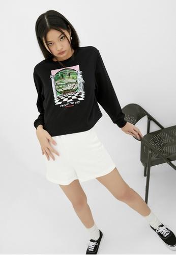 Pomelo black Smiley Escape The City Graphic Sweatshirt - Black 23CA5AAB367CC8GS_1