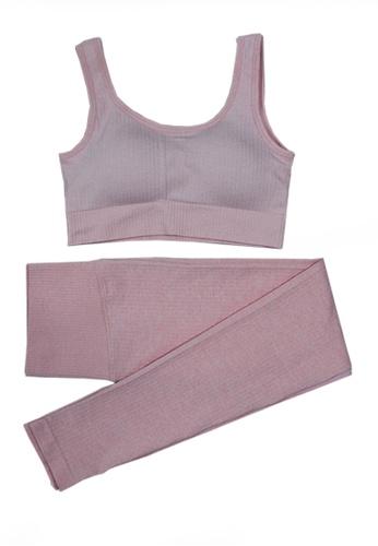 Twenty Eight Shoes pink VANSA Pure Color Vest Yoga Set VPW-Y555 A786AAAC1A351EGS_1