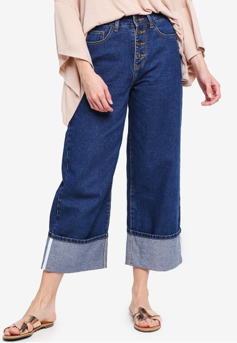 Zalia blue Turn Up Button Jeans EAD13AAB3040A1GS_1